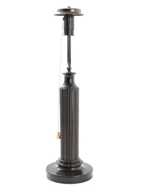 """Kolonne"". Large patinated ""disko"" metal table lamp"