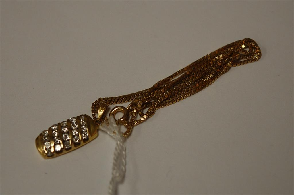A ladies 18ct gold and diamond set pendant on 14ct fine boxlink neck chain