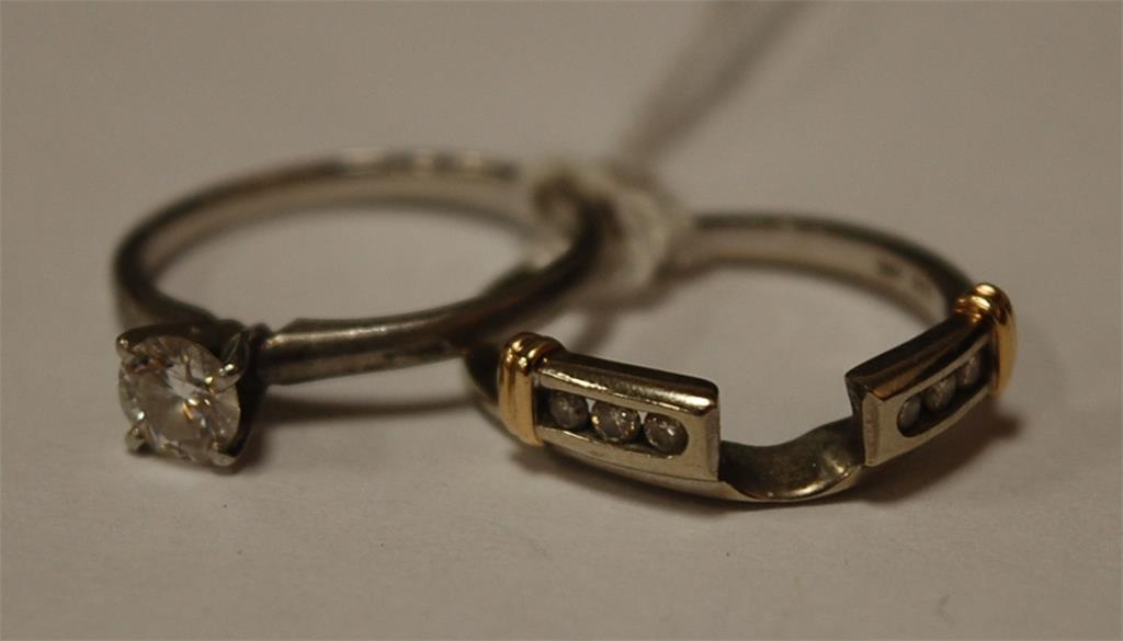 An American platinum diamond set dual ring