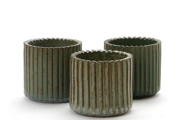 Three cylindrical stoneware vases modeled with vertically grooved pattern