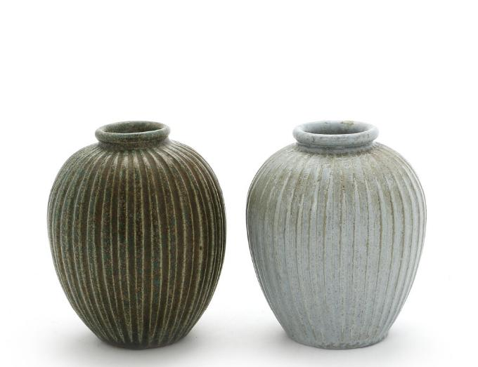 Two round stoneware modelled with fluted pattern