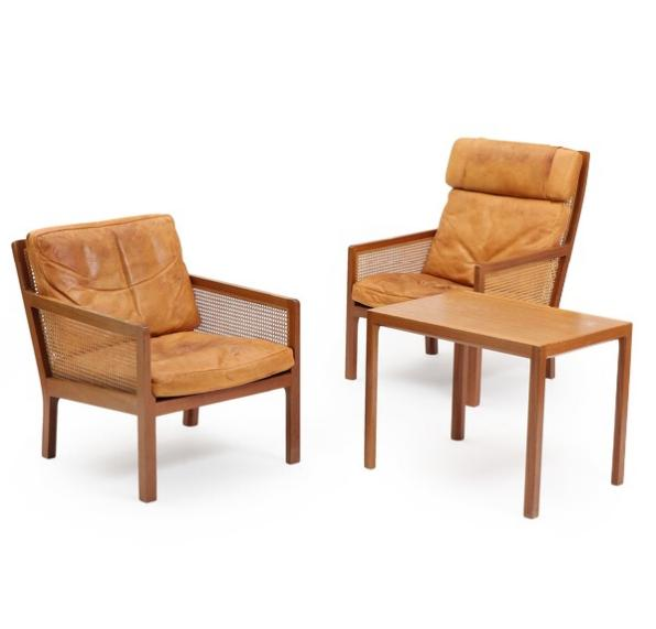 Low and highback mahogany easy chairs with woven cane