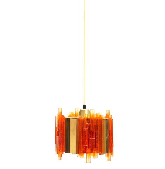 """""""Pan"""". Pendant with silver anodized aluminium lamellas. And a brass pendant with orange acrylic lamellas"""