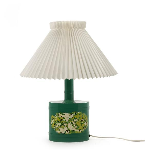 An oval shaped table lamp of green lacquered metal, decorated on two sides with bird- and leaf motif