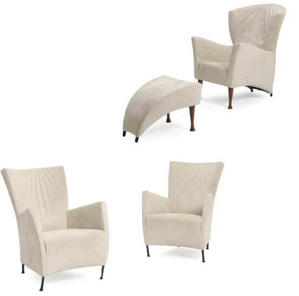 """""""Windy"""". A pair of easy chairs with black-lacquered steel legs, and """"Castor"""" easy chair with stool, mahogany legs, upholstered w"""