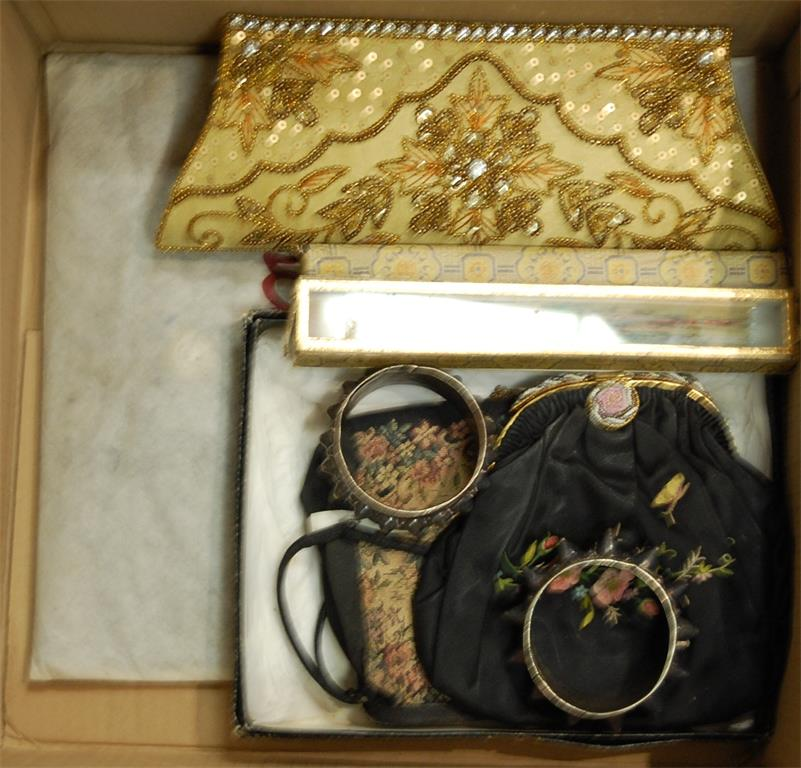 A ladies Elizabeth Grant handbag together with two boxed sandalwood fans and two bangles etc