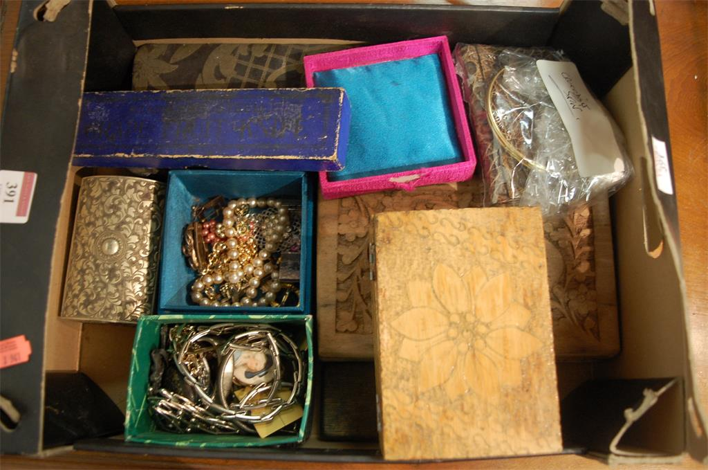 A box of assorted costume and other jewellery to include paste set brooches
