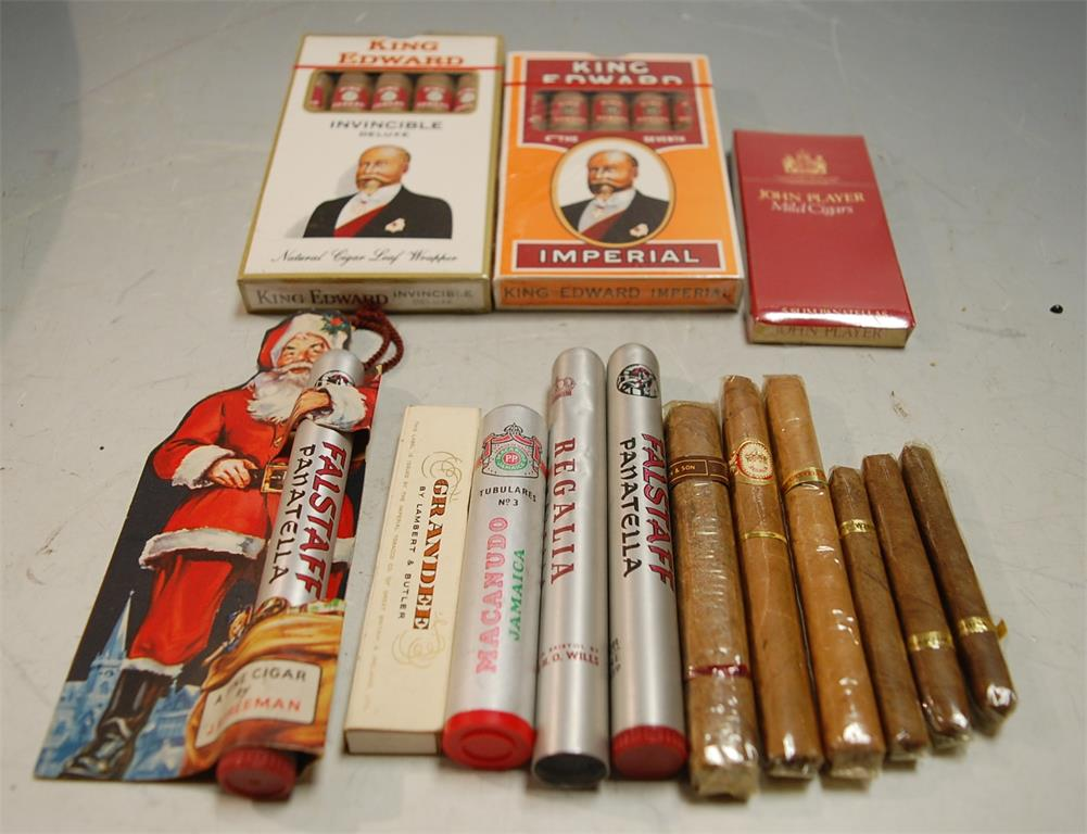 A box of assorted cigars to include King Edwards and Falstaff Panatella