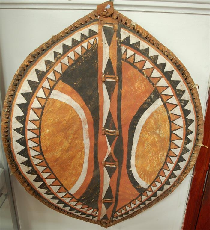 An Australian aboriginal shield painted with natural pigments