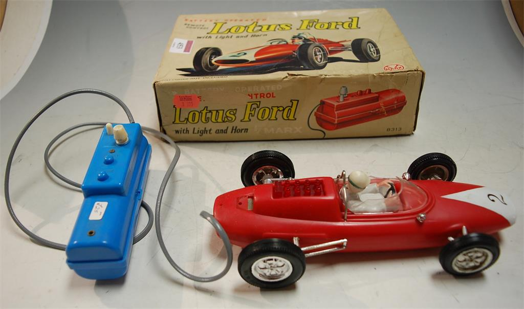 A boxed Marx remote control battery operated Lotus Ford