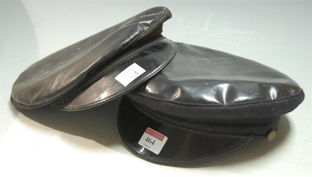 A black 1960s black plastic railwayman's peaked cap