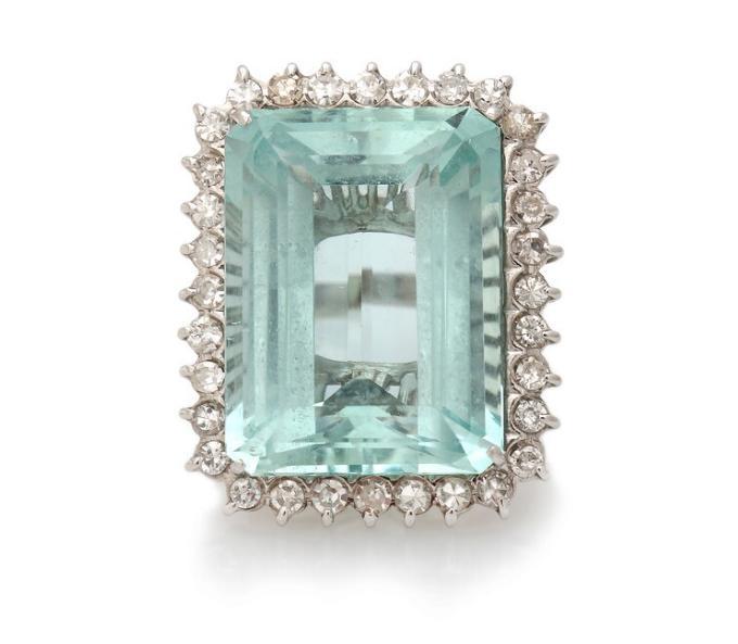 An aquamarine and diamond ring set