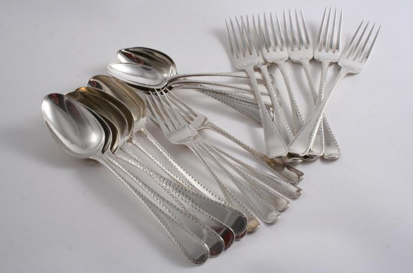 A COLLECTED OR HARLEQUIN PART SET OF FLATWARE