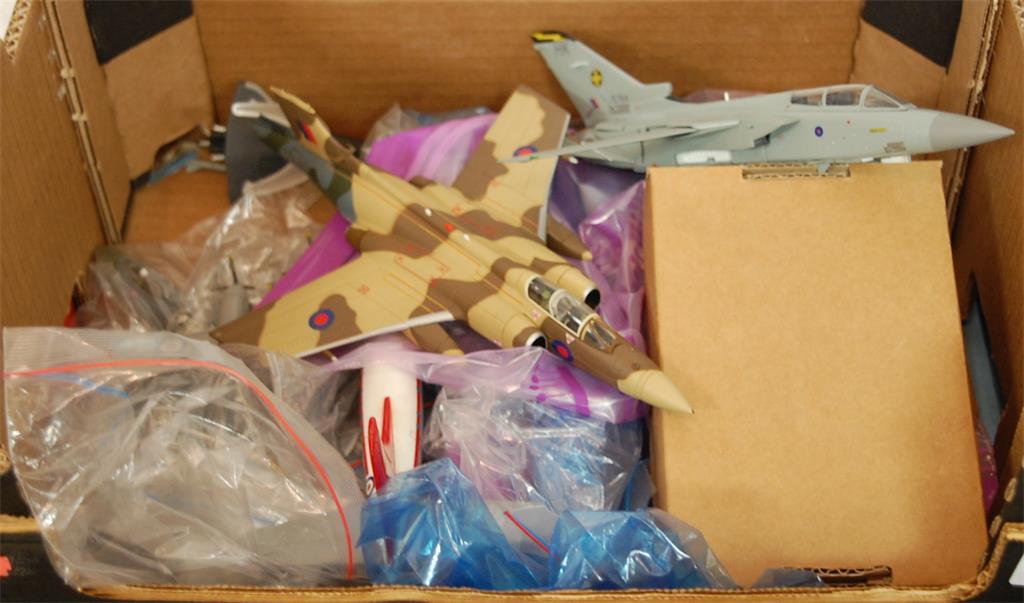 A box of five various diecast aeroplanes and motorbikes to include; Corgi Britannia 300 etc