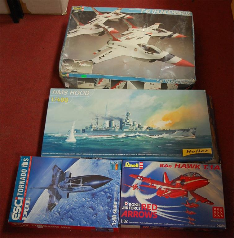 A Revell kit built Hawk T1A Red Arrows aeroplane together with various other model aeroplanes