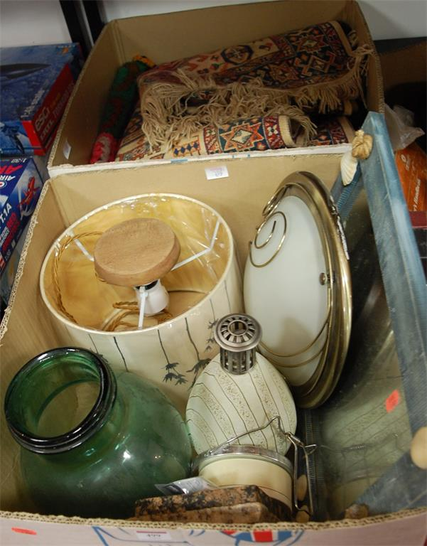 Two boxes of miscellaneous items to include table lamp base