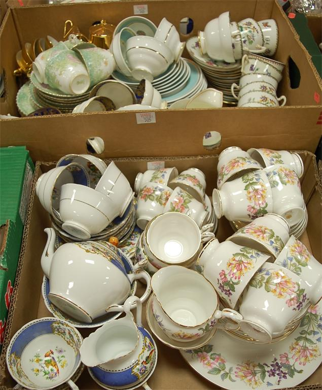 Two boxes of miscellaneous china to include a Paragon Country Lane pattern part tea service