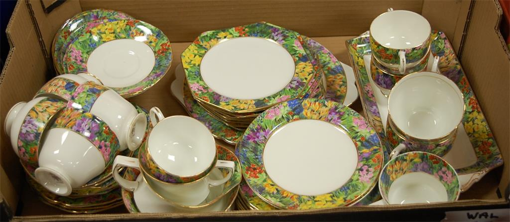 A Paragon part tea service in the Springtime pattern