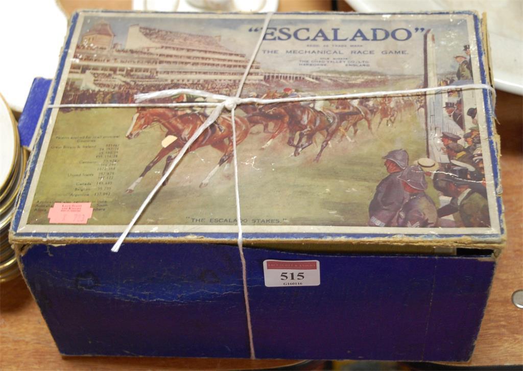 A Chad Valley Escalado mechanical race game, boxed