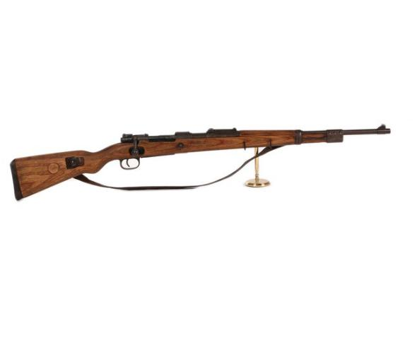 A German KAR 98 carbine number 7948 in calibre 8 mm. with a bayonet and a German Hurbertus small frame airpistol
