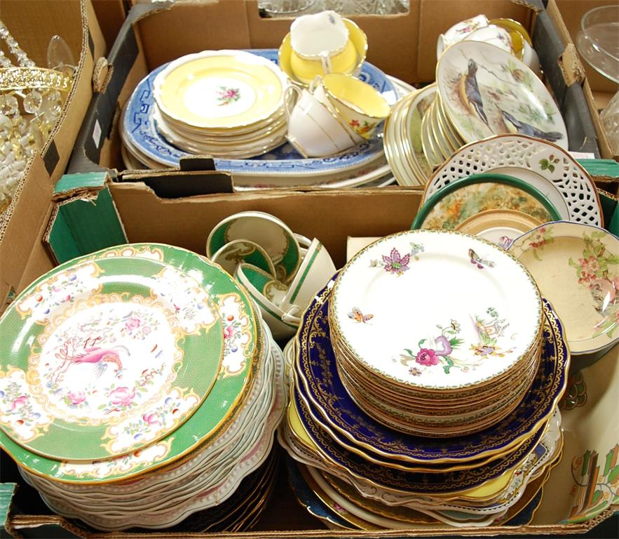 Two boxes of miscellaneous china to include Royal Doulton sandwich plates