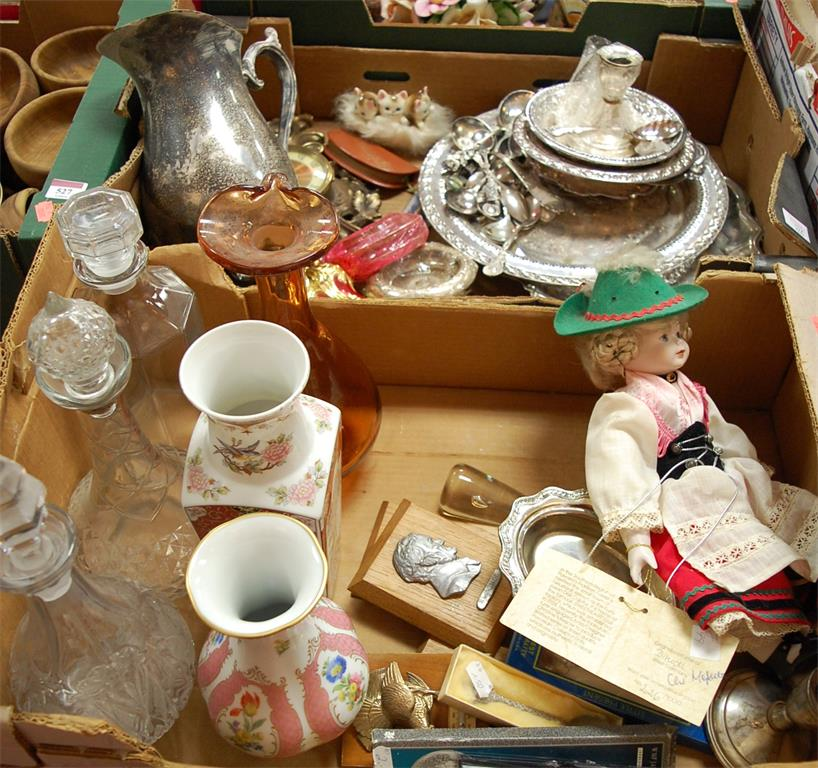 Two boxes of miscellaneous items to include silver plated souvenir spoons