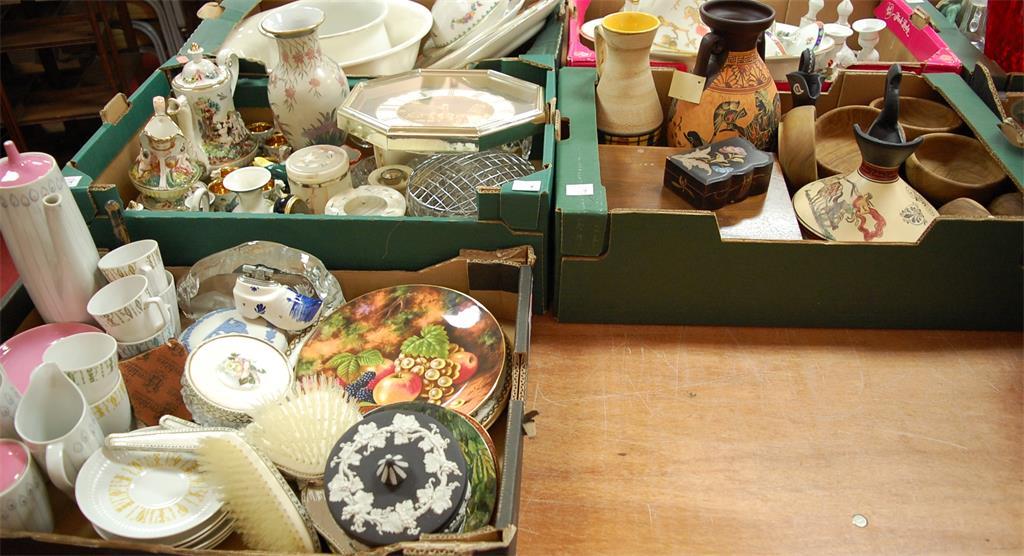Three boxes of miscellaneous to include Wedgwood black jasperware trinket jar