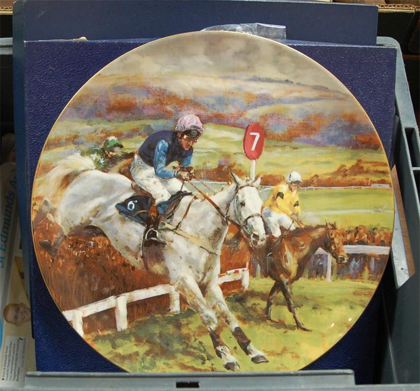 A box of assorted collectors' plates to include Coalport Spirit of Cheltenham Gold Cup etc