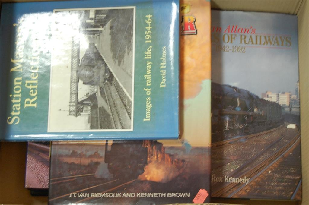 A box of assorted rail related books to include A Stationmaster's Reflections
