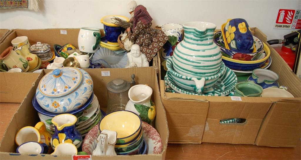 Three boxes of miscellaneous china to include modern Austrian pottery jug & bowl set