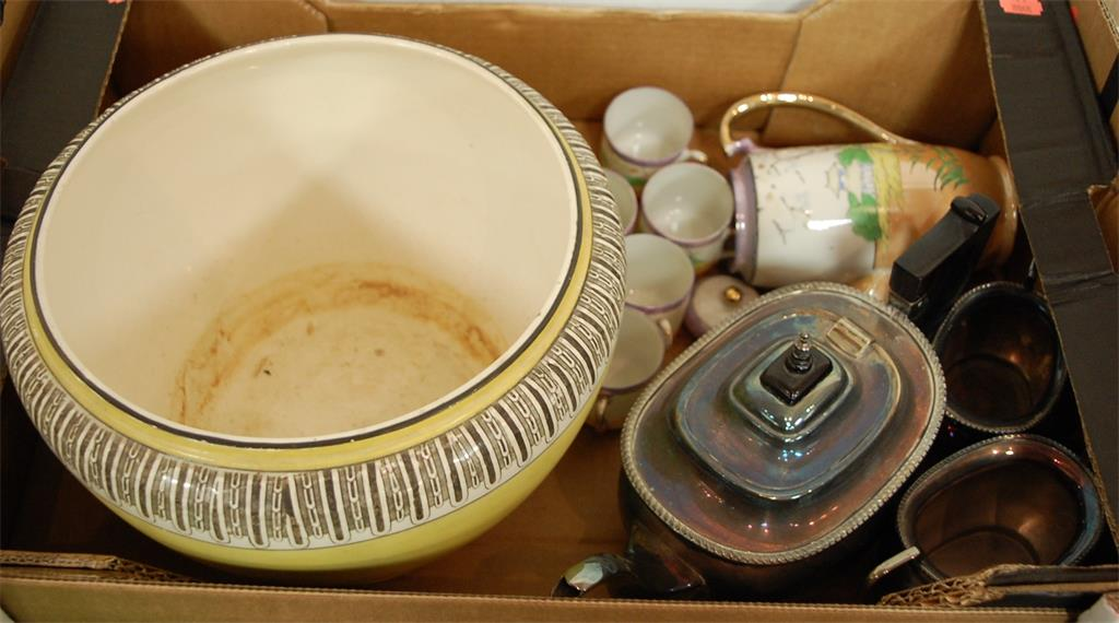 A box of miscellaneous items to include early 20th century silver plated three piece tea service