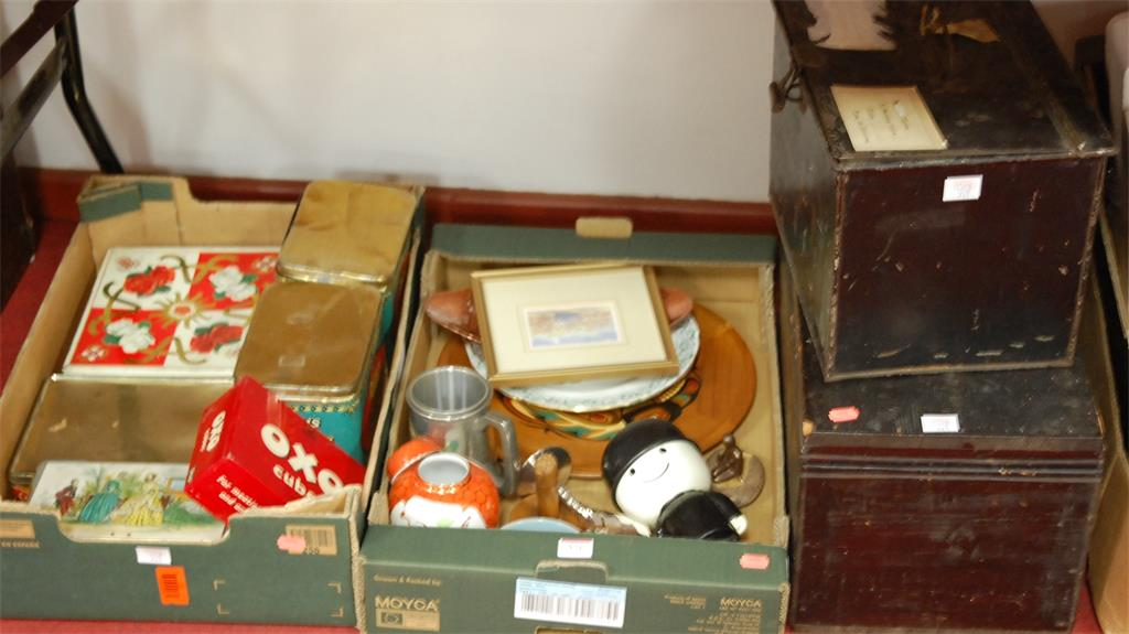 Two boxes of miscellaneous to include various advertising tins