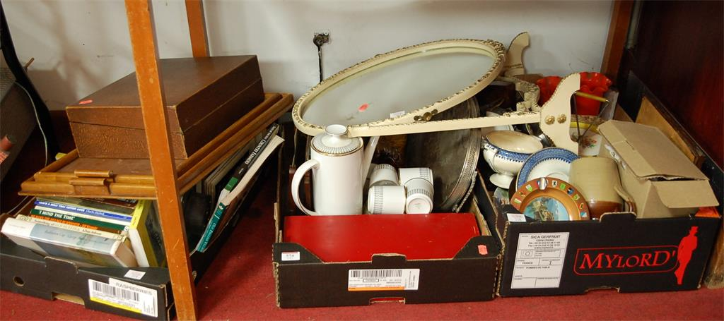 A large collection of miscellaneous items to include stoneware jug, oak twin handled tray, various books, part coffee service et