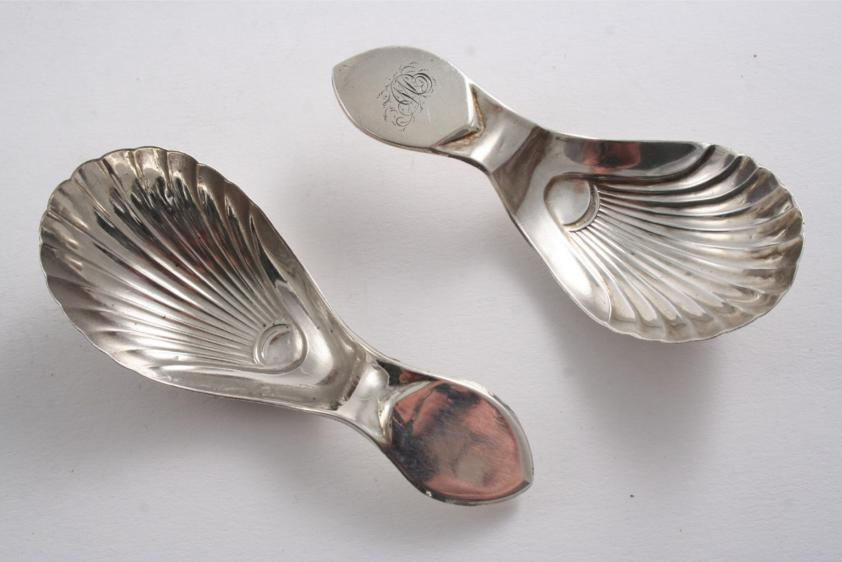 A rare George III caddy spoon with a fluted bowl, by Richard Morton & Co