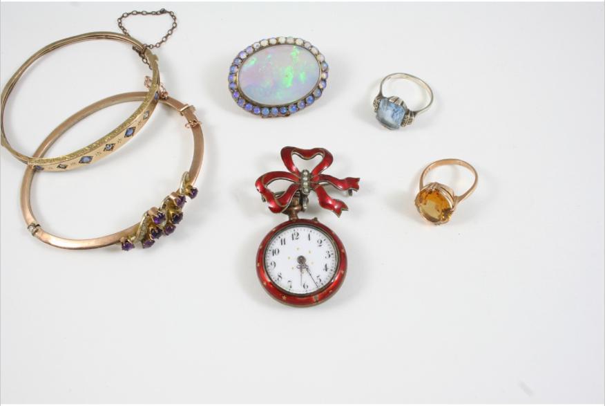 JEWELLERY including a sapphire, diamond and gold half hinged bangle