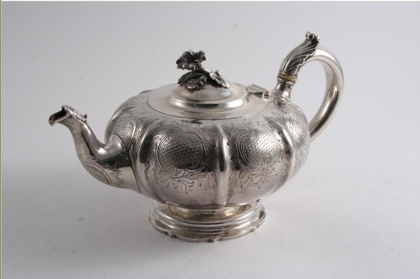 A VICTORIAN MELON-FLUTED TEA POT