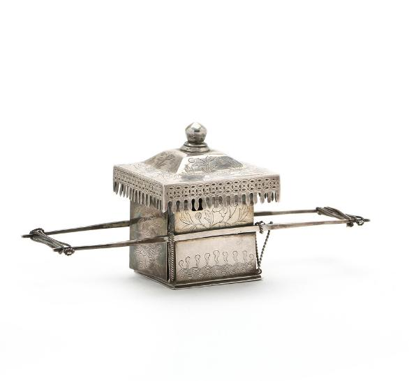 Chinese palanquin of silver with incised flower decoration, bottom with inscription