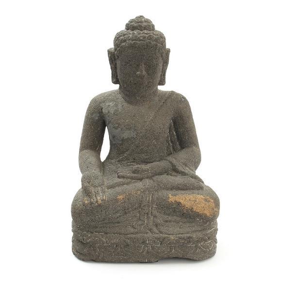 Cambodian basalt Buddha, seated in bhumisparsha mudra