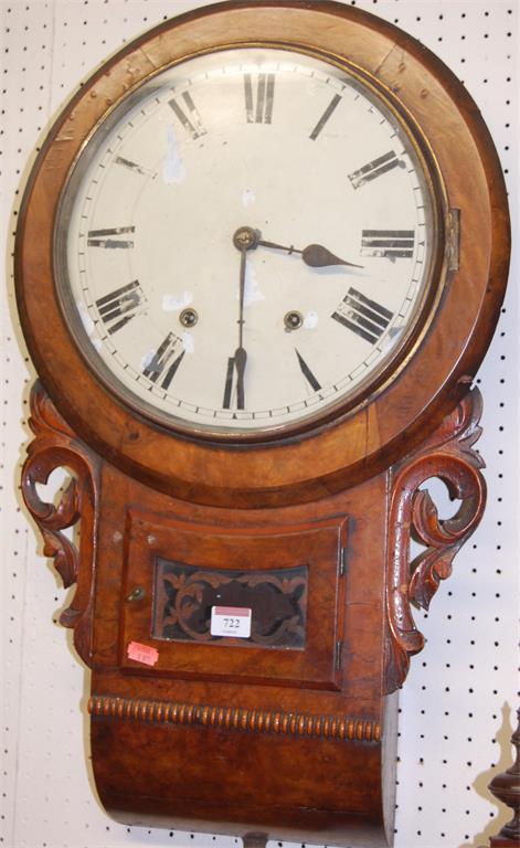A Victorian figured walnut droptrunk wall clock