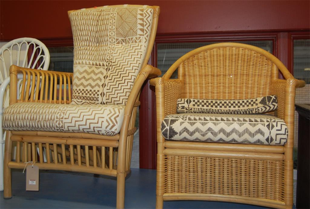 A collection of contemporary bamboo and wicker conservatory furniture to include