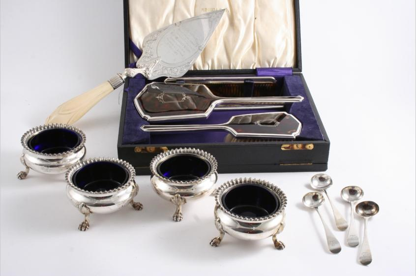 A SET OF FOUR OLD SHEFFIELD PLATED SALTS