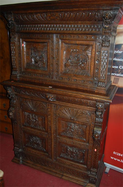 A good late 19th century Flemish heavily carved oak buffet cabinet