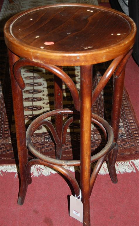 A set of five circa 1900 Austrian bentwood breakfast bar stools
