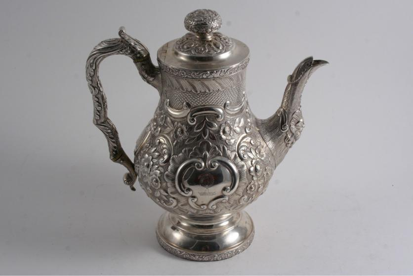 A GEORGE IV BALUSTER COFFEE POT