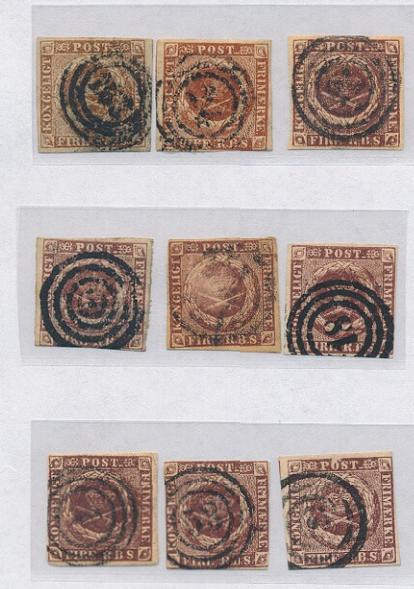 1851-1854. 4 RBS. 9 used copies in mixed condition