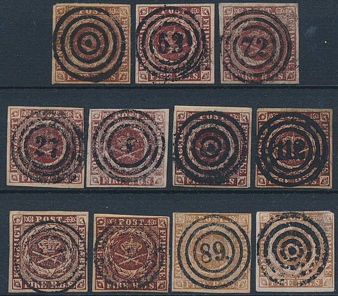 1851-1854. 4 RBS. Planche med 11 pæne mærker. En udtalelse Møller medfølger