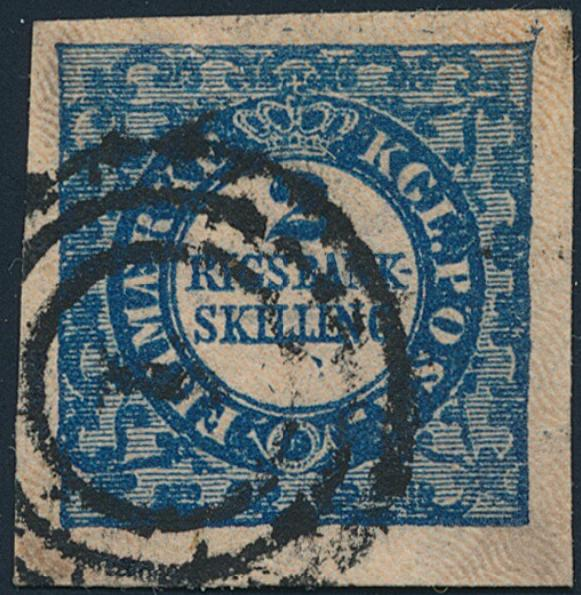 1851. 2 RBS Thiele. Plate I, no. 99. Type 9. Very wide margined copy. Cert. Møller AIEP