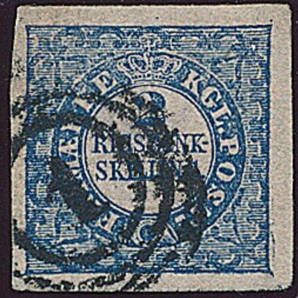 1851. 2 RBS Thiele. Plate II, no. 74. Type 6. Beautiful and very wide margined copy. Cert. Nielsen