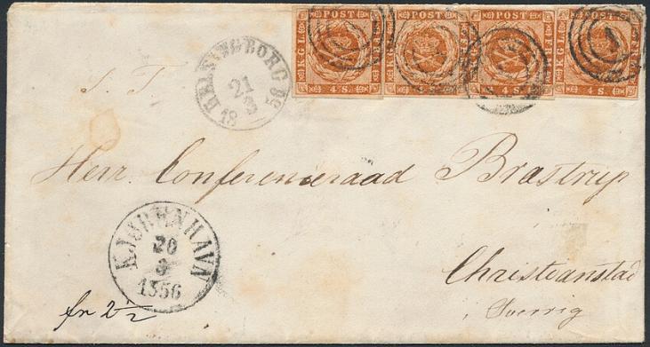 1854. 4. sk. brun. 1.tryk. 4 stk. på brev fra KJØBENHAVN 20.3.1856 til Sverige