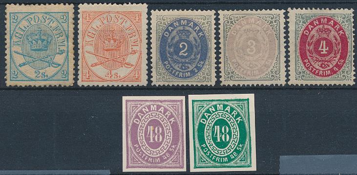 1864-1871. 5 ubrugte skillingsmærker. 2 sk